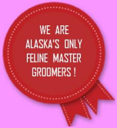 red badge adverstising the only feline master groomer in Anchorage, Alaska.
